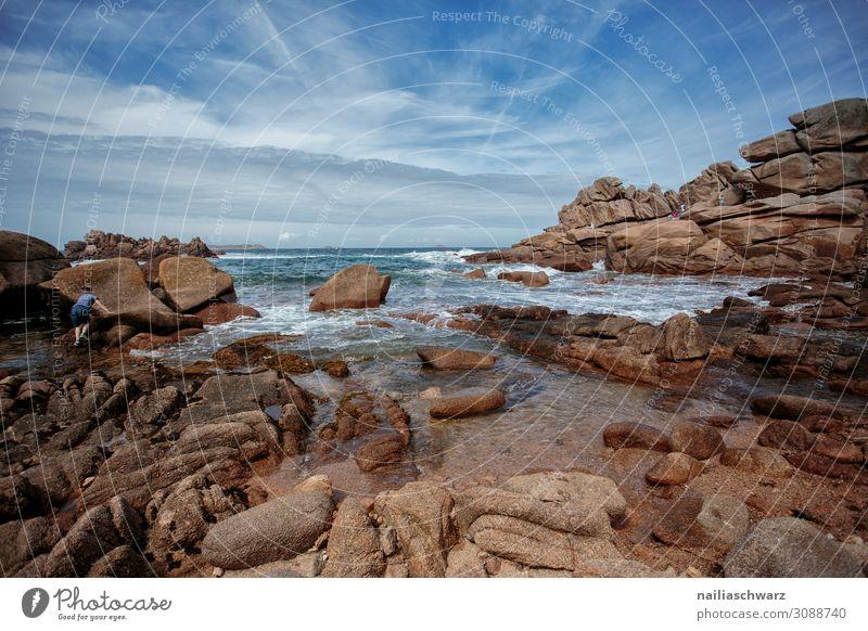 Rosa Granit Küste Sommer Strand Umwelt Natur Landschaft Sand Luft Wasser Himmel Schönes Wetter Felsen Bucht Meer Atlantik Frankreich Rosa Granitküste