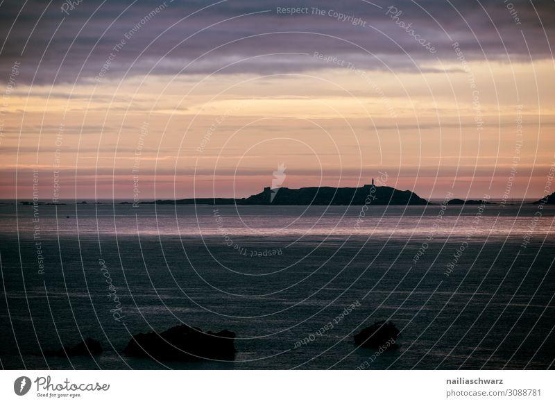 Rosa Granitküste, Sonnenuntergang Ferien & Urlaub & Reisen Tourismus Ferne Sommer Sommerurlaub Strand Meer Umwelt Natur Landschaft Sand Luft Wasser