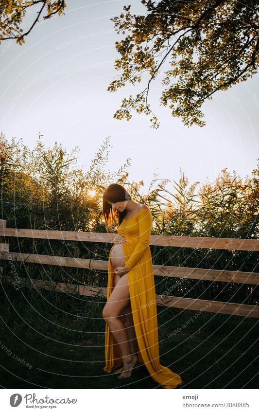 Schwangerschaft Mensch feminin Junge Frau Jugendliche Erwachsene Mutter 1 18-30 Jahre schwanger gelb Farbfoto mehrfarbig Außenaufnahme Abend Sonnenstrahlen