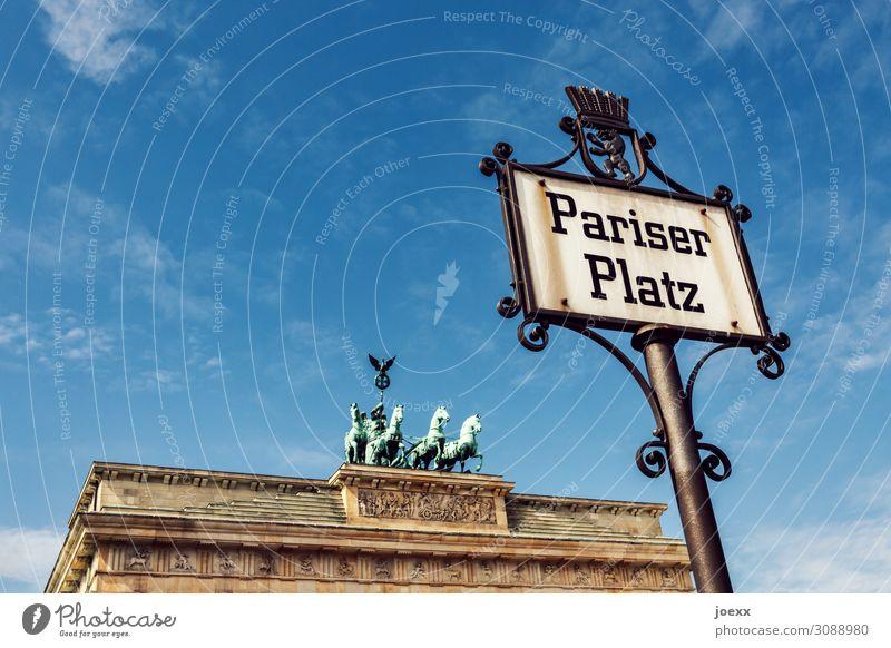 Pariser Himmel Berlin Hauptstadt Platz Tor Brandenburger Tor Pariser Platz Fassade Sehenswürdigkeit Denkmal Stein Ornament Schilder & Markierungen alt groß