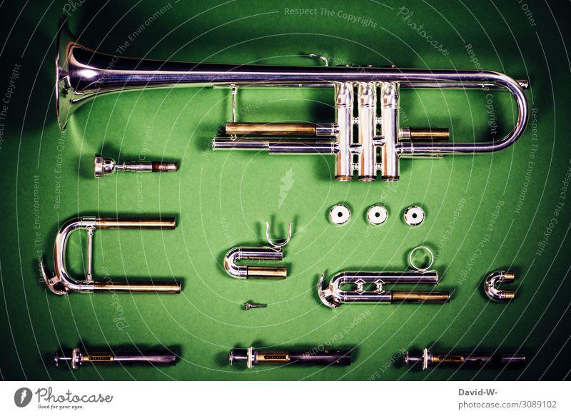 Trompete in Einzelteile zerlegt Instrument Teile Musik Musikinstrument basteln Instrumentenbau instrumentenbauer Metall