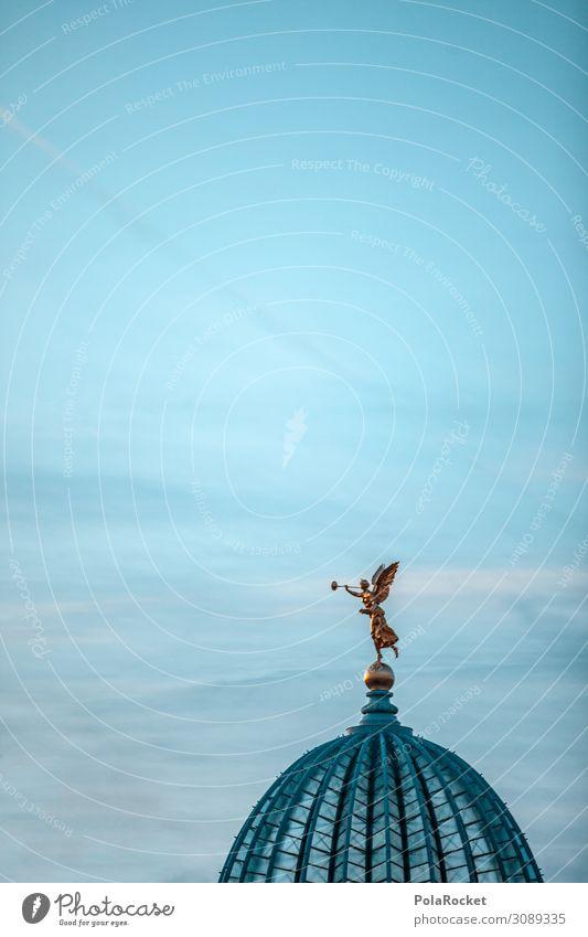 #A# Engelsliebe Kunst Kunstwerk ästhetisch Kultur Kulturlandschaft Kulturdenkmal Kulturzentrum Dresden Sachsen Statue Dach Kuppeldach Farbfoto Gedeckte Farben