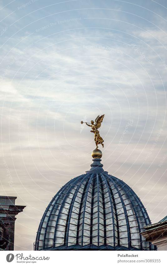 #A# Kuppelgold Kunst Kunstwerk ästhetisch Engel Statue Kuppeldach Dresden Sachsen Farbfoto Gedeckte Farben Außenaufnahme Detailaufnahme Experiment abstrakt