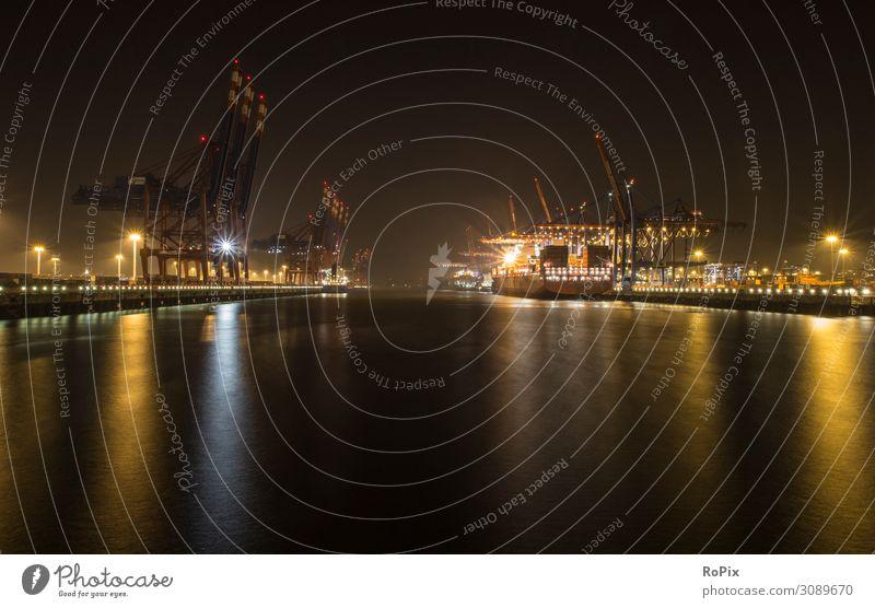 Containerterminal im Hafen bei Nacht. Ferien & Urlaub & Reisen Tourismus Sightseeing Städtereise Arbeit & Erwerbstätigkeit Beruf Arbeitsplatz Fabrik Wirtschaft