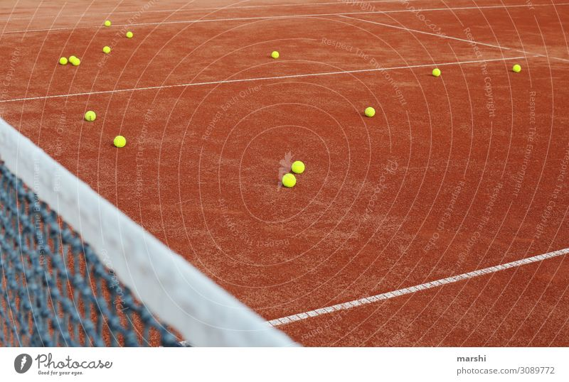 Tennisstunde Natur rot Sport Stimmung Erde Platz Fitness sportlich Ball Sport-Training Tennisnetz Ballsport Tennisschläger Tennisball Sandplatz