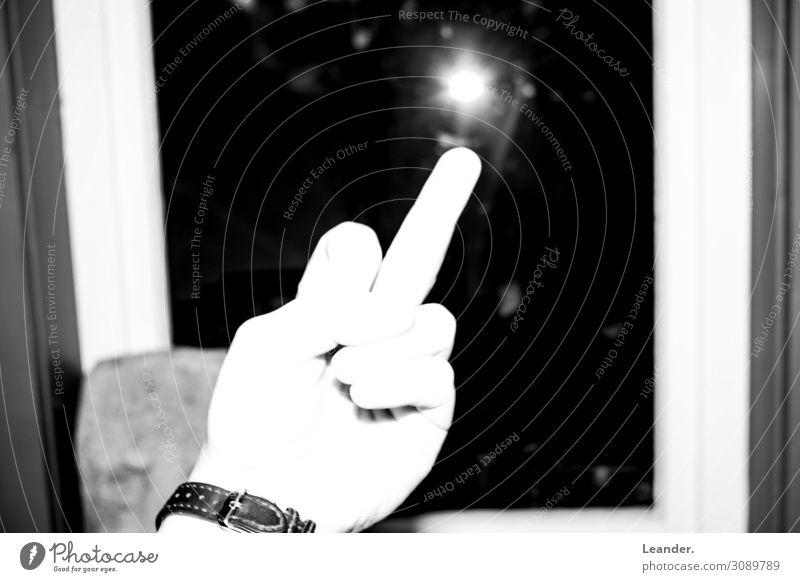 Hass Mensch Körper Hand Finger 1 18-30 Jahre Jugendliche Erwachsene hässlich retro Stimmung schuldig Abenteuer Macht Schutz seriös Mittelfinger beleidigt