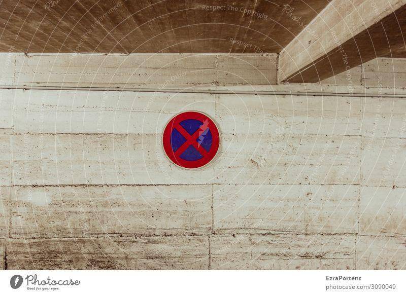 absolut Stadt Haus Bauwerk Gebäude Architektur Mauer Wand Fassade Verkehr Verkehrswege Verkehrszeichen Verkehrsschild Beton blau grau rot Parkverbot Verbote