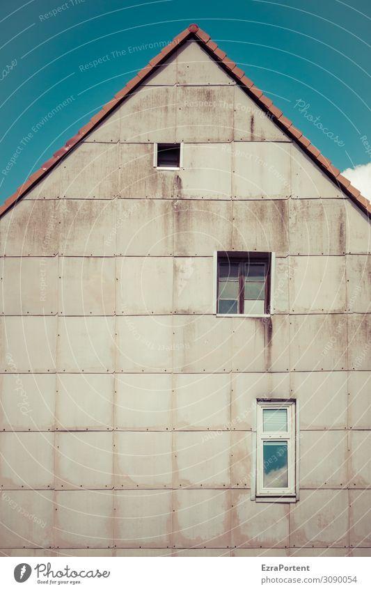 /\ Himmel Haus Bauwerk Gebäude Architektur Mauer Wand Fassade Fenster Dach Linie alt dreckig blau grau Ecke Dachgiebel 3 Farbfoto Außenaufnahme Menschenleer Tag