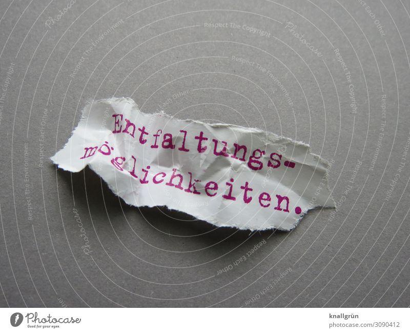 Entfaltungsmöglichkeiten. Schriftzeichen Schilder & Markierungen Kommunizieren grau rot weiß Gefühle Neugier Erfahrung Erwartung einzigartig Perspektive