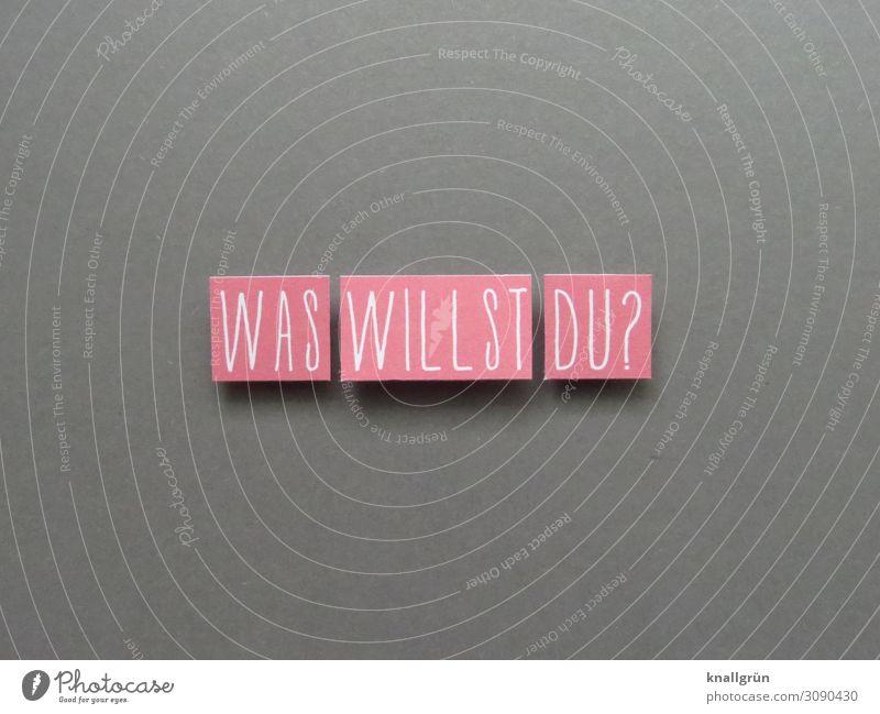 WAS WILLST DU? Schriftzeichen Schilder & Markierungen Kommunizieren grau rosa weiß Gefühle achtsam Neugier Interesse Erwartung Irritation Fragen Farbfoto