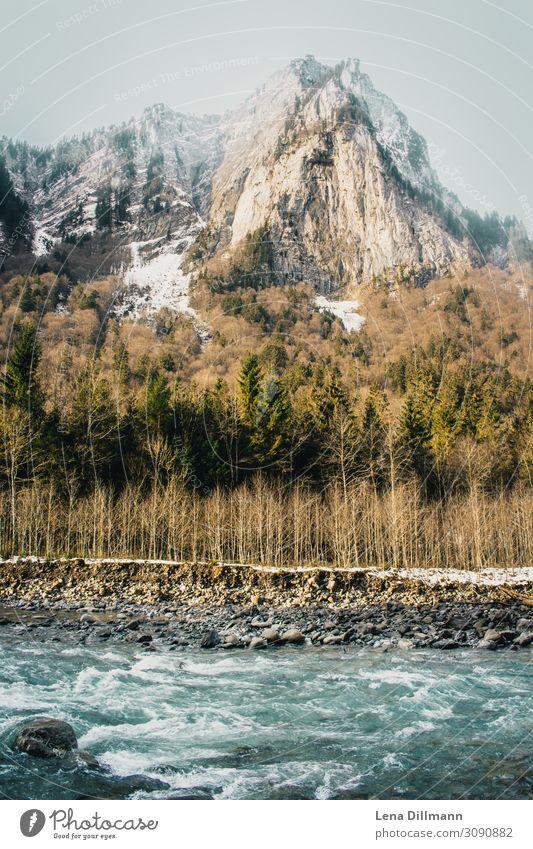 Voralberger Landschaft im Winter voralberg österreich alpen landschaft fluss bergfluss nebel Berge u. Gebirge Österreich Alpen Himmel Wolken Natur Außenaufnahme