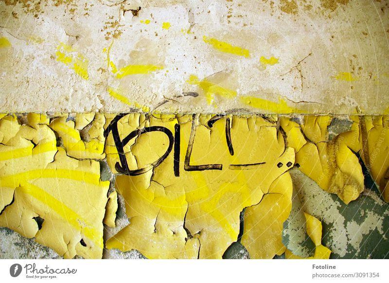 Bild Menschenleer Haus Bauwerk Gebäude Architektur Mauer Wand alt dreckig gelb schwarz weiß Schriftzeichen Buchstaben Wort Putz Putzfassade abblättern