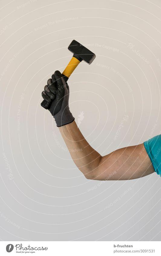 female power Fitness Sport-Training Beruf Handwerker Baustelle Erfolg Hammer Frau Erwachsene Arme 1 Mensch Arbeit & Erwerbstätigkeit Bewegung festhalten