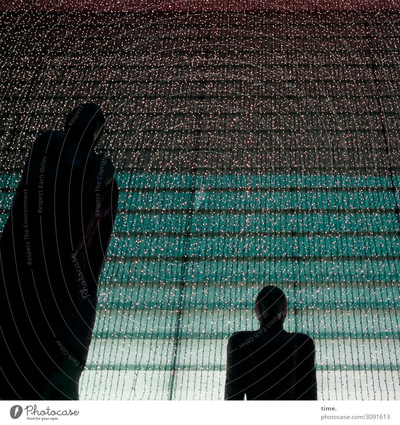 Nachtwache Unterhaltungselektronik Kunst Skulptur Haus Bauwerk Fassade Fenster Lichterkette dunkel Kraft Ausdauer standhaft Stolz ästhetisch Partnerschaft