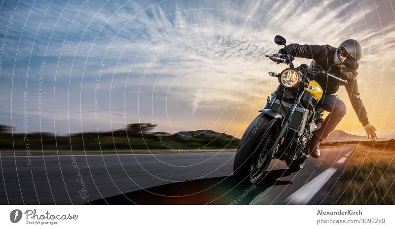 man on a motorbike on the road riding. Mensch Ferien & Urlaub & Reisen Freude Lifestyle Sport Kraft Asphalt Motorrad gebrauchen Motorradfahrer