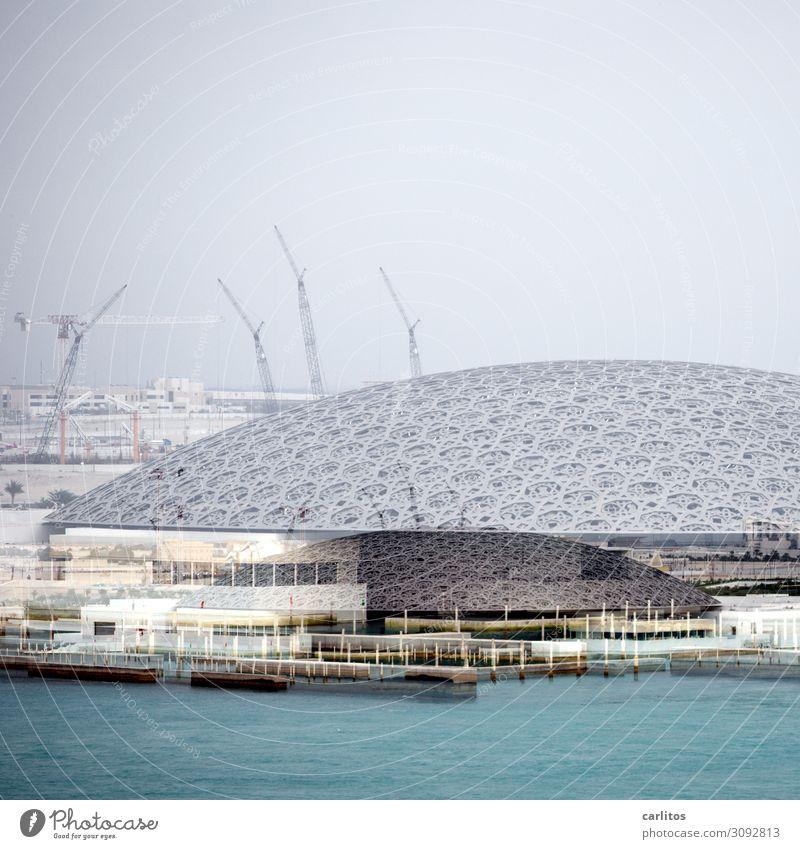 Louvre Geld Tourismus Kunst Museum Architektur Zukunft Abu Dhabi Vereinigte Arabische Emirate Naher und Mittlerer Osten Doppelbelichtung abstrakt