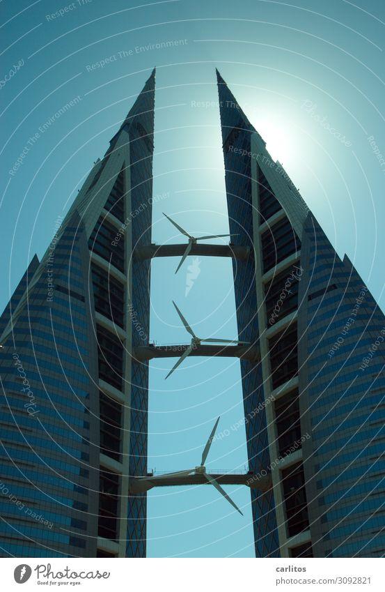 Bahrain World Trade Center Manama Hochhaus zwei Türme Windkraftanlage Rotor Energie Energiewirtschaft frei Symmetrie Architektur Gegenlicht Bauboom
