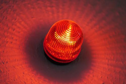 Rotlichtwarnlampe vor Film- oder Tonstudio rot Lampe leuchten Musik Technik & Technologie Medien Filmindustrie Fernsehen Werkstatt Warnhinweis Kino Radio Video