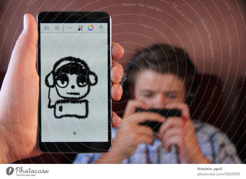 Selfie :D Mensch Jugendliche Freude lustig Spielen maskulin 13-18 Jahre Handy digital PDA Identität Entwurf