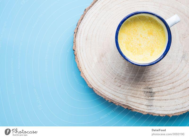 Kurkuma-Getränk für das Immunsystem Kräuter & Gewürze Ernährung Saft Tee Löffel Behandlung Wellness Holz frisch heiß natürlich gold weiß Antioxidans aromatisch