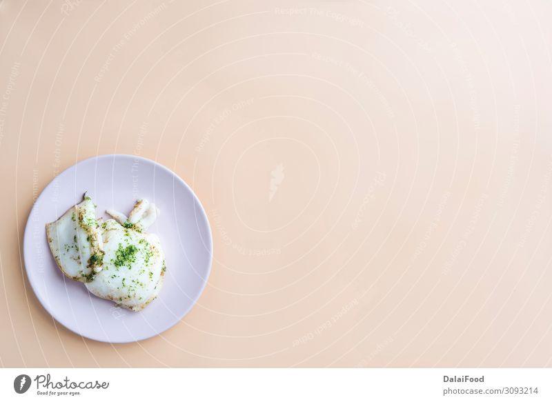 gegrillter Tintenfisch (gesunde Ernährung) Mittagessen Abendessen Diät Teller Meer Tisch Küche Restaurant Coolness frisch lecker weiß Kanarienvogel