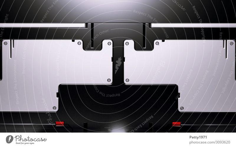 Tech Background - 3D Render Computer Notebook Hardware Technik & Technologie Fortschritt Zukunft High-Tech Industrie grau rot schwarz Design Symmetrie