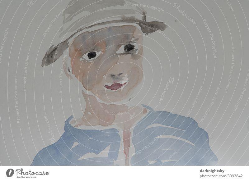 Aquarell Porträt Frau Kind Mensch Ferien & Urlaub & Reisen Jugendliche blau Gesicht Erwachsene feminin Stil Kunst Kopf 13-18 Jahre Kindheit Lebensfreude