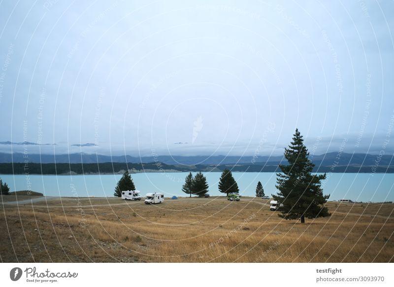 camper Umwelt Natur Landschaft Pflanze Tier Luft Wasser Himmel Klima Klimawandel Wetter Baum Gras Sträucher Hügel Berge u. Gebirge Seeufer Fahrzeug Wohnmobil