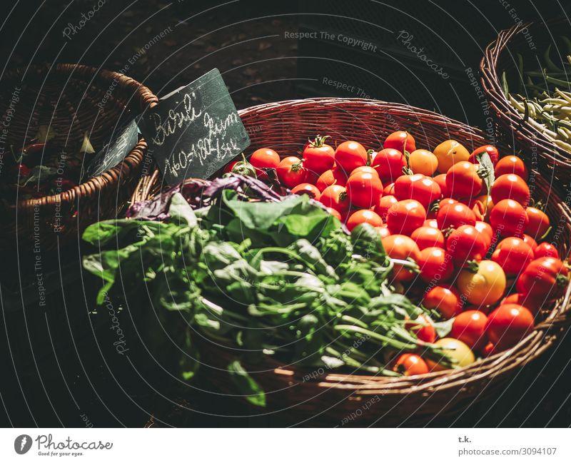 Basili kum Lebensmittel Gemüse Frucht Tomate Basilikum Ernährung Bioprodukte Vegetarische Ernährung kaufen Sommer Herbst frisch Gesundheit grün rot Markt