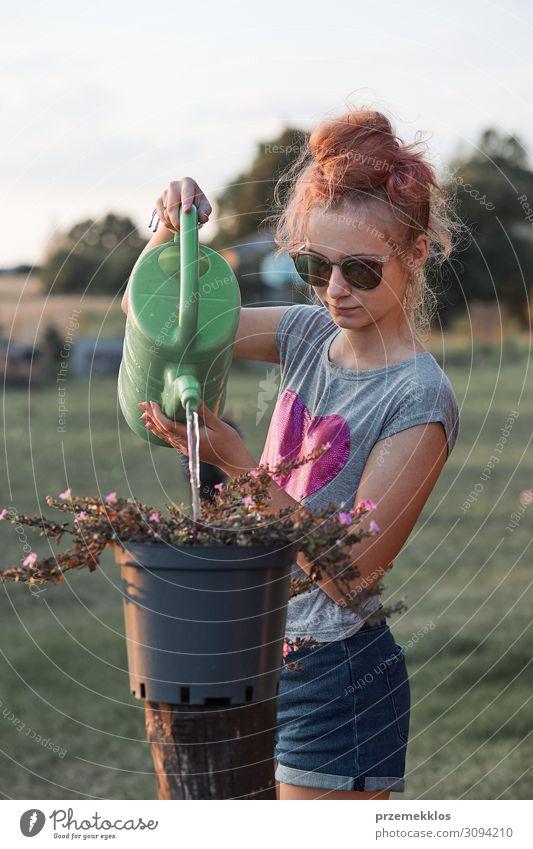 Teenager-Mädchen hilft bei der Bewässerung der Blumen Topf Lifestyle Sommer Garten Kind Arbeit & Erwerbstätigkeit Gartenarbeit Mensch Junge Frau Jugendliche