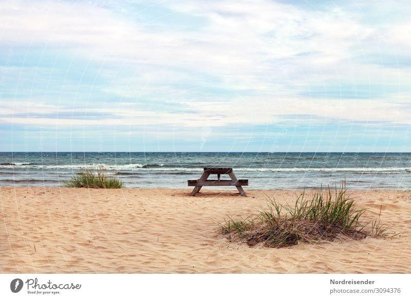 Ostsee im Norden von Schweden Ferien & Urlaub & Reisen Tourismus Camping Sommerurlaub Strand Meer Wellen Natur Landschaft Sand Wasser Himmel Wolken