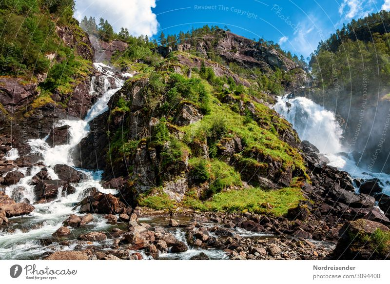 Zwillingswasserfall Låtefossen Ferien & Urlaub & Reisen Tourismus Ausflug Ferne Sommer Natur Landschaft Urelemente Wasser Himmel Wolken Frühling Schönes Wetter