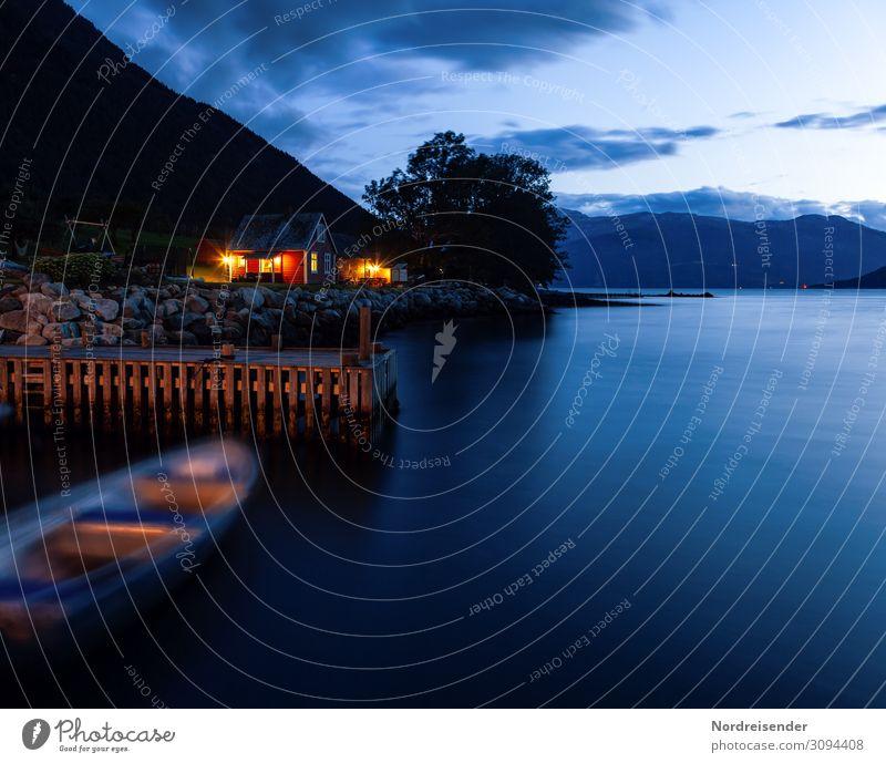 Nachts am Fjord Ferien & Urlaub & Reisen Tourismus Sommerurlaub Meer Landschaft Wasser Himmel Wolken Schönes Wetter Baum Berge u. Gebirge Küste Fischerdorf