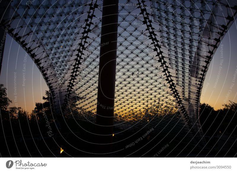 Dämmerung setzt ein am Campus in Bad Neustadt an der Saale. Ein Großes Netz mit einem Pfeiler , im Hintergrund Büsche. elegant Design Umwelt Natur Sonnenaufgang