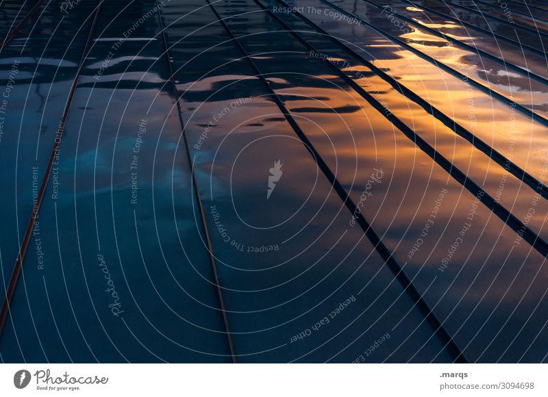 Regnerisch Sonnenaufgang Sonnenuntergang Flachdach Metall dunkel Farbe Hintergrundbild nass Farbfoto Außenaufnahme Strukturen & Formen Menschenleer