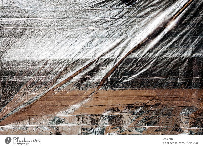 Foliert Strukturen & Formen abstrakt Nahaufnahme silber Hintergrundbild Surrealismus weiß schwarz grau Schutz Abdeckung Faltenwurf Silberfolie Plane