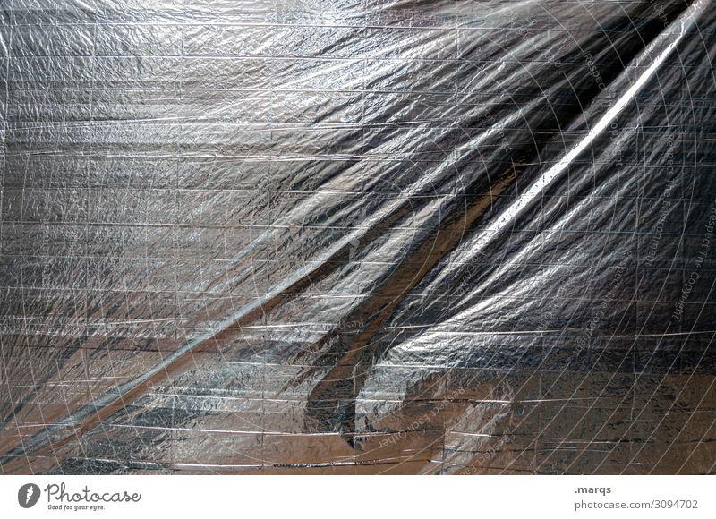 Verpackt Folie Abdeckung Schutz grau schwarz weiß Surrealismus Hintergrundbild silber Farbfoto Außenaufnahme Nahaufnahme abstrakt Strukturen & Formen