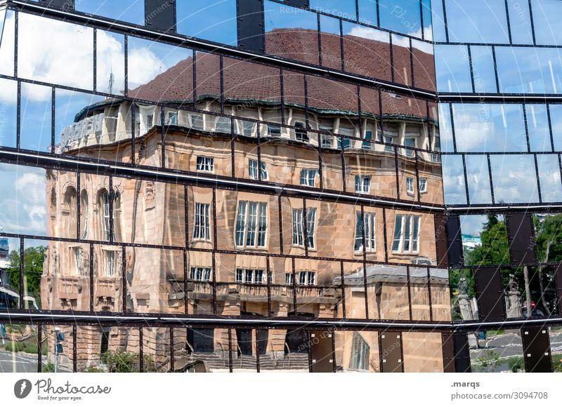 Stadtthea Studium Freiburg im Breisgau Gebäude Architektur Bibliothek Theater Glas alt neu Perspektive Farbfoto Außenaufnahme abstrakt Menschenleer Tag