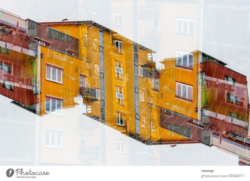 Ungewohnt Lifestyle elegant Stil Design Haus Bauwerk Gebäude Architektur Fassade Häusliches Leben außergewöhnlich Coolness trendy modern neu gelb rot ästhetisch