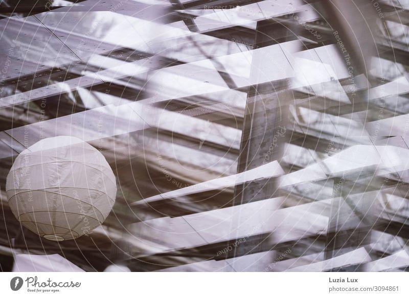 Lampion Innenarchitektur Lampe Dach Glas Stahl Design Leichtigkeit Licht Strahlung Schattenspiel hell schaukeln Gedeckte Farben Innenaufnahme Menschenleer
