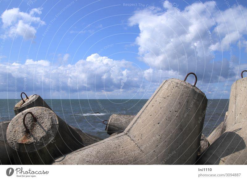 wertvoll   Wellenbrecher Natur Landschaft Luft Wasser Himmel Wolken Horizont Sommer Küste Seeufer Nordsee Beton Stahl blau braun grau schwarz weiß Betonmauer