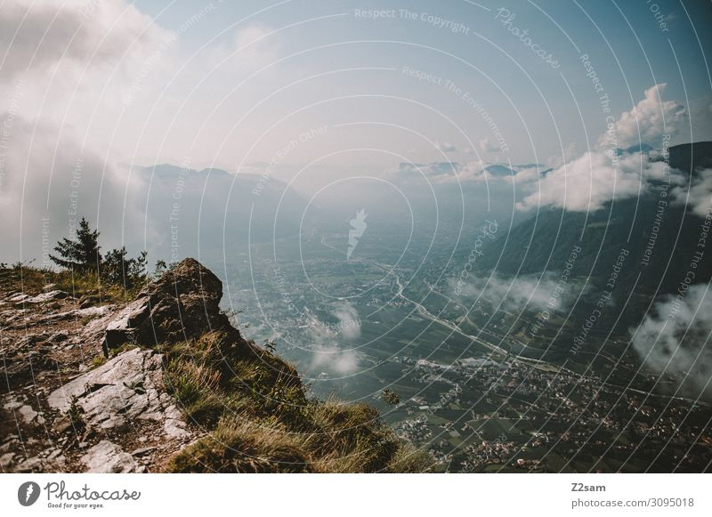 Meran City wandern Umwelt Natur Landschaft Himmel Wolken Sommer Schönes Wetter Alpen Berge u. Gebirge Gipfel gigantisch nachhaltig natürlich verrückt blau ruhig