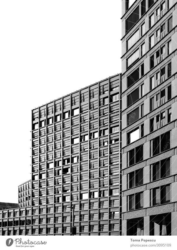 Bürogebäude Stadt Hauptstadt Skyline bevölkert überbevölkert Haus Industrieanlage Bauwerk Gebäude Architektur Fenster Zukunft Büroarbeit Fensterscheibe