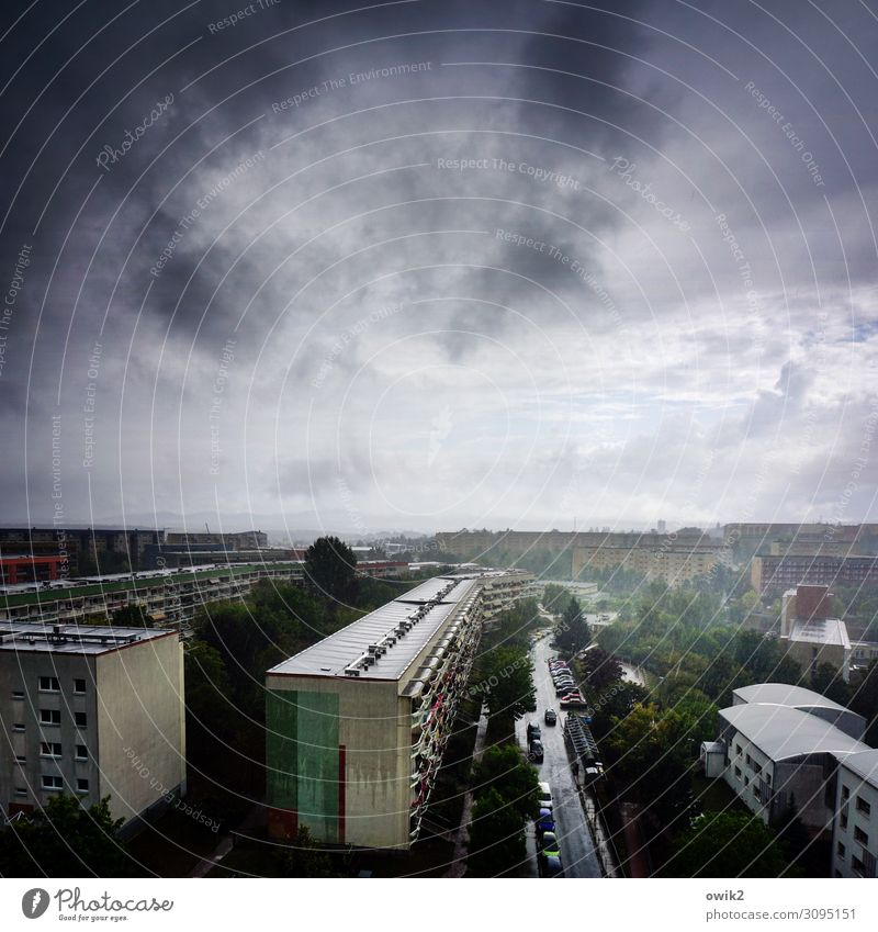 Wasser marsch Urelemente Luft Himmel Horizont schlechtes Wetter Unwetter Regen Baum Bautzen Kleinstadt Stadtrand bevölkert Haus Gebäude Plattenbau Fassade