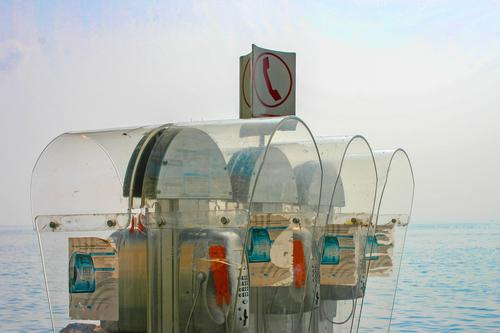 wertvoll l wenn der akku leer ist.... Ferien & Urlaub & Reisen Natur Sommer blau Meer Strand sprechen Tourismus Ausflug hell retro Technik & Technologie