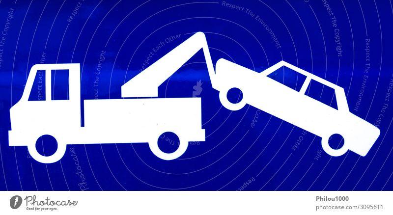 Nahaufnahme eines blauen Verkehrsschildes für einen gesperrten Führerschein Design Business Park Straße Fahrzeug PKW fahren weiß Vorsicht Versicherung