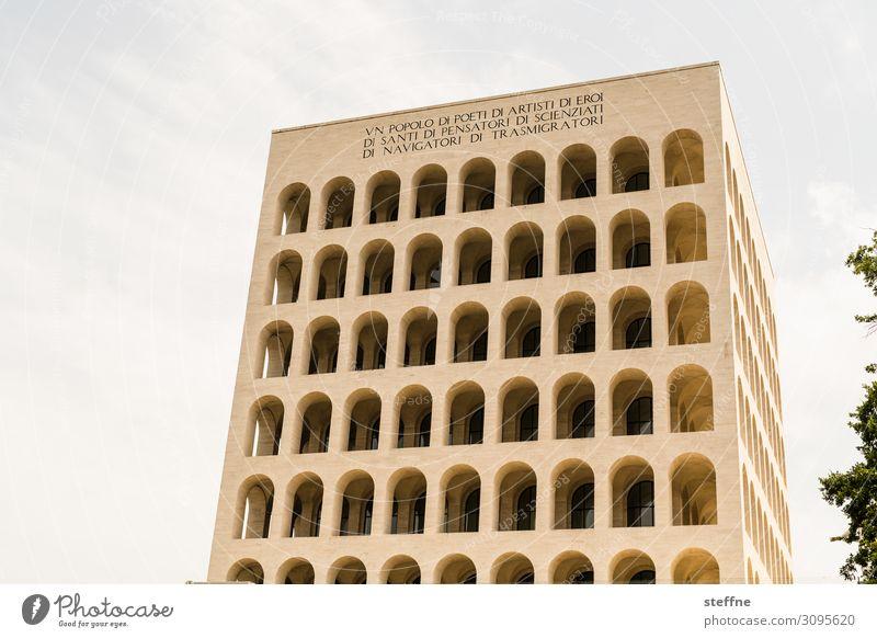 Palazzo della Civiltà Stadt Bauwerk Architektur Fassade Sehenswürdigkeit Wahrzeichen ästhetisch außergewöhnlich modern palazzo della civilta Moderne Architektur