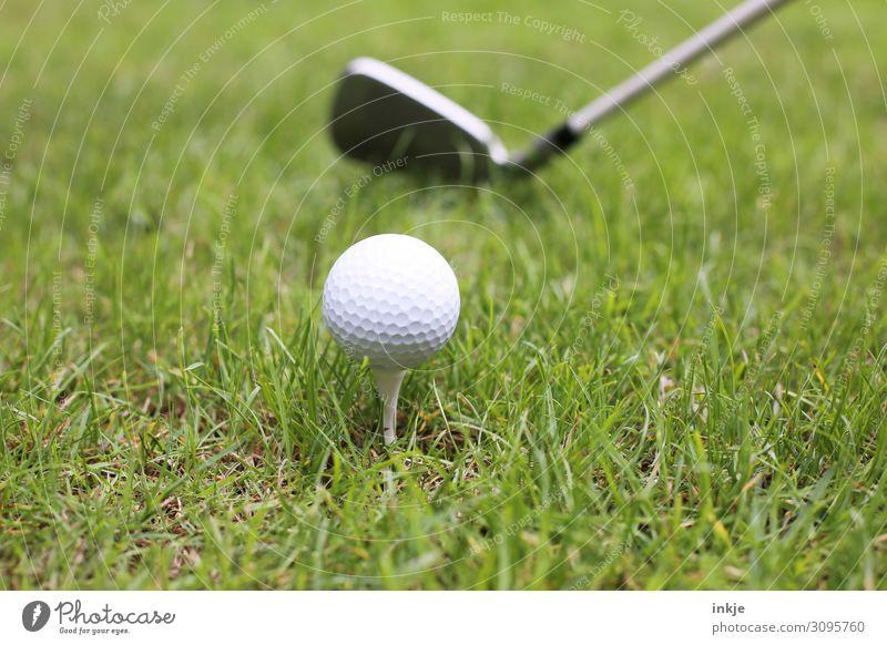 Abschlag Sport Golf Golfball Golfschläger Golfplatz Wiese nah grün weiß Farbfoto Gedeckte Farben Außenaufnahme Nahaufnahme Menschenleer Textfreiraum links