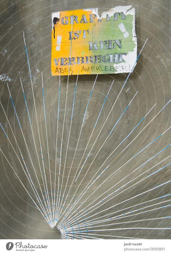 Graffiti ist kein Verbrechen, Aufkleber auf einer Glascheibe Subkultur Straßenkunst Franken Glasscheibe Etikett Schriftzeichen Linie außergewöhnlich frech