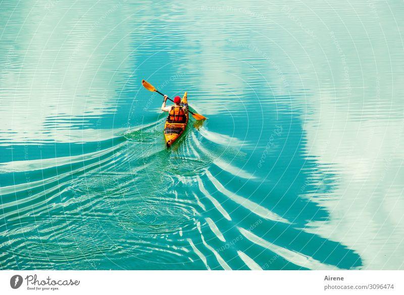 ins Blaue hinein Mensch Himmel Wasser weiß Wolken Sport Freiheit See orange Freizeit & Hobby frisch Wellen Kraft Abenteuer Energie Unendlichkeit